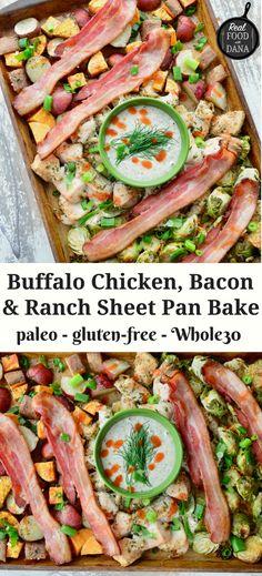 Buffalo Chicken, Bacon & Ranch Sheet Pan Bake (Whole30) | Real Food with Dana