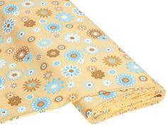 "Baumwollstoff+""Happy+Flower+beige/blau"" € 7,50"