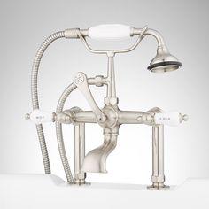 Deck-Mount Telephone Faucet - Porcelain Lever Handles