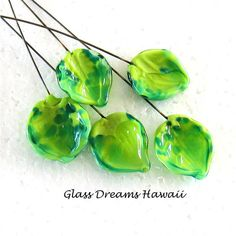 Glass Leaf Headpins (5 Handmade Lampwork Glass Leaves, Summer Shades... ($15) ❤ liked on Polyvore featuring home and home decor