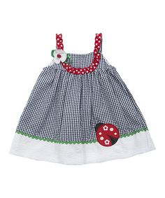 Navy & White Ladybug Dress by Rare Editions on #zulilyUK today!