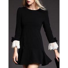 Elegant Round Collar 3/4 Sleeve Lace Spliced Flounced Women's Dress