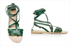 These Ancient Greek Sandals are rendered in green vachetta leather and feature adjustable straps that wrap around the ankle. Now Available on Moda Operandi