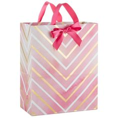 Pink and Gold Watercolor Chevron Large Gift Bag, 13""