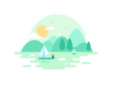 桂林 by Darren Popular Boat Illustration, Flat Design Illustration, Landscape Illustration, Watercolor Illustration, Digital Illustration, Graphic Illustration, Guilin, Cartoon Background, Illustrator Tutorials
