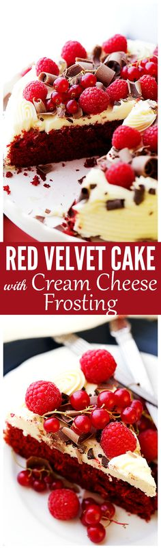 Red Velvet Cake with Cream Cheese Frosting - Moist, spongy, lightened-up Red Velvet Cake with Cream Cheese Frosting. Perfect for Valentine's Day, Birthdays, or any time you need a foolproof recipe for this American classic!