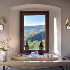 Sink with a view Castello di #Reschio design #Umbria #Italy www.reschio.com