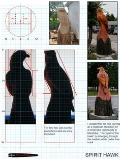 Chainsaw carving patterns free Spirit Hawk