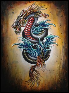 Dragon Flash Painting by kptattooing, via Flickr