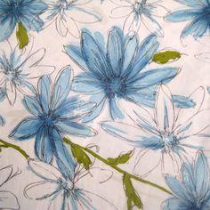 Dancing Daisies Vintage Polished Cotton Fabric Yardage  Fandango by Maraham