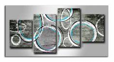 MF_028 / Cuadro Abstracto geometrico turquesa