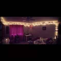 Bedroom with Christmas Lights! Soooo calming!