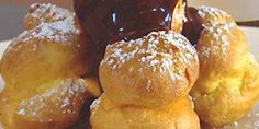 Profiteroles with hot chocolate sauce