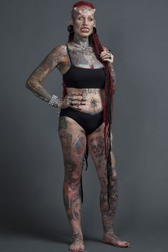 Maria Jose Cristerna (the Mexican Vampire Woman), a 35 year old former attorney from Guadalajara, Mexico - She has body modifications/piercings/tattoos over 98 per-cent of her body. Each area of work depict a segment of her experience with domestic violence and she uses that in working against domestic violence.