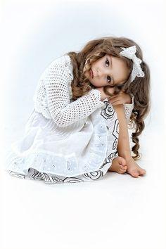 White Head Band, Bow, Crochet Sweater, Pinafore Dress, Childrens Fashion - Beautiful and Sweet
