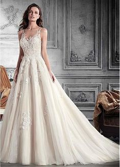 dressilyme.com provides top quality Romantic Tulle Jewel Neckline A-Line Wedding Dress With Lace Appliques & Beadings. Buy discount Romantic Tulle Jewel Neckline A-Line Wedding Dress With Lace Appliques & Beadings with paypal directly from reliable online marketplace.
