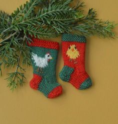 "Chicken & Baby Chick Hand-Knit Christmas Stocking Ornaments set of 2 - ""chickens are the new owls""!"