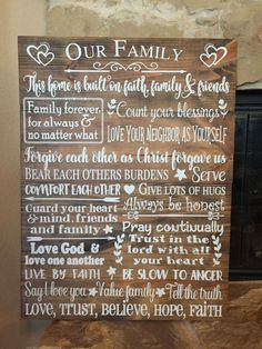 Our family rules Wood Sign  Family Wood Sign Personalized