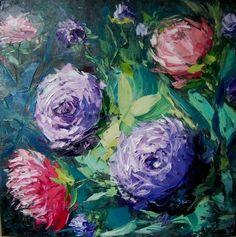 "Dobriakova Kseniia, ""Dancing flowers"", 40\40, oil on canvas,2014"