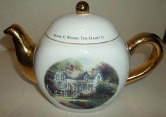 """Teleflora  Thomas Kinkade """"Home Is Where The Heart Is""""  Teapot EUC"""