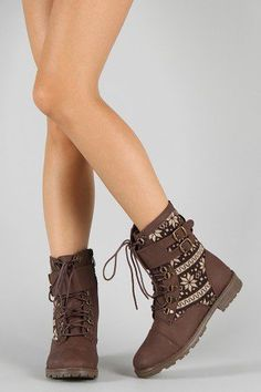 693176c9450 Bumper Finny-01 Tribal Buckle Lace Up Boot Buckle Boots