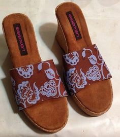 Lexees Folk Fluer Brown Slip On Sandals Snap On Changable Tops Size 9