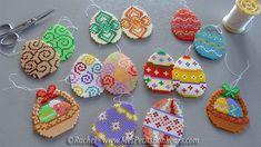 décs de Paques oeufs et paniers en perles hama