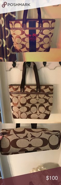 """Large coach tote 👜 Adorable coach brown monogram bag. Light brown material. Comfy fabric straps. Minimal signs of wear, great used condition. Approx 14"""" wide, 12"""" tall, 4"""" depth. coach Bags Shoulder Bags"""