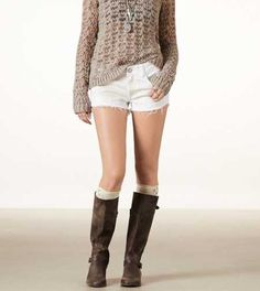 AE Sequined Denim Festival Shortie Sweater, shorts, boots combo! Cute!