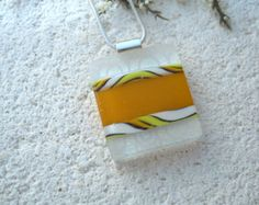 Yellow White Necklace,Dichroic Jewelry, Dichroic Glass Necklace, YellowNecklace, Fused Glass Jewelry, Fused Glass Necklace  060815p106