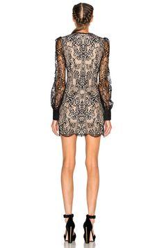 Butterfly Lace Mini Dress on Black & Flesh