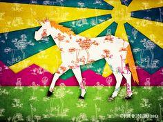 "A Unicorn a day ""Patchwork Toile Unicorn"""