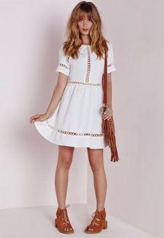 Cheesecloth Crochet Trim Skater Dress White