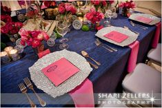 Wedding Table Design Inspiration: Hot Pink, Blue and Silver with a Touch of Green