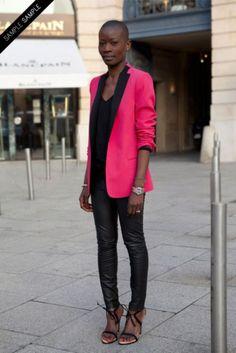 pink and black blazer