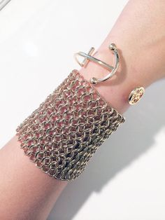 Silver chain mail bracelet with clip closure