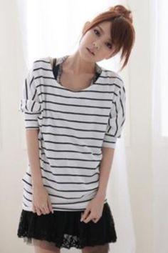 Cute fashion white stripe shirt
