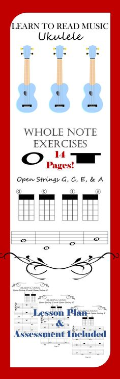 Print & GO! 14 pages of music-reading exercises for absolute beginners. Students will identify whole notes, whole rests, the fretboard, and be able to read from the staff. Cool Ukulele, Ukulele Songs, Ukulele Chords, Music Guitar, Piano Lessons, Music Lessons, Guitar Lessons, Singing Exercises, Reading Music
