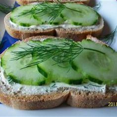 Cucumber Sandwiches III Recipe Lunch and Snacks with cream cheese, mayonnaise, italian salad dressing mix, french bread, cucumber, dried dillweed