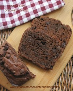 Sour Cream Chocolate Bread, rich, moist and sinfully delicious! @Joan | ChocolateChocolateandmore
