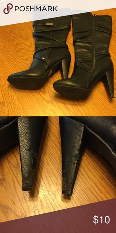 Charlotte Russe black boots VEGAN All man made materials.  Heels are scuffed see picture. Charlotte Russe Shoes Heeled Boots
