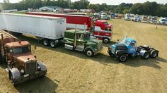 Staging on Hollywood Hill with Brad Wike's Duel Peterbilt, the Rubber Duck Mack from Convoy (owned by tktk) and Paul and Craig Sagehorn's Movin' On and B. & the Bear KW conventional and cabover, respectively. Big Rig Trucks, Cool Trucks, Semi Trucks, Kenworth Trucks, Chevy Trucks, Peterbilt, Antique Trucks, Vintage Trucks, Model Truck Kits