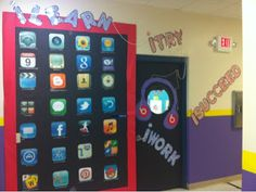 Ramblings of a fifth and sixth grade teacher…: Finishing up my Monday Made It- iPad themed Welcome Back! Ramblings of a fifth and sixth grade teacher…: Finishing up my Monday Made It- iPad themed Welcome Back! 5th Grade Classroom, Classroom Design, School Classroom, I School, School Stuff, Middle School, Future School, School Doors, Future Classroom