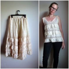 "Refashioned Petticoat = cute eyelet ruffled tank. Quote the blogger: ""Simply laid my fave tank over the petticoat, cut, stitched. A little vintage bias tape and and hour later, BAAM, cute tank has arrived!"""