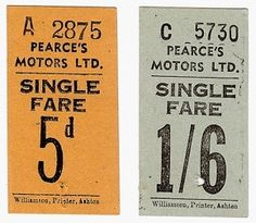 Pearce's Motors Ltd - Bell Punch - Bus Ticket