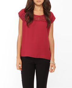 Forever 21 Boxy Lace Panel Top