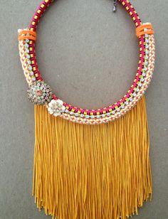MUSTARD fringe necklace by LOLAjewelryd on Etsy