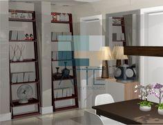 Living Descontraído: Este projeto de sala integrada com jantar e cozinha usa a cor como ferramenta para integrar os espaço. A cor aplicada nas paredes de fundo forma um plano único unificando o ambiente. Itens de decoração retrô trazem nostalgia e charme na decoração. E os móveis práticos tornam o espaço funcional para o dia-a-dia.