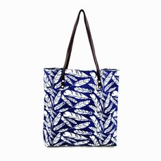 blue feather print tote bag