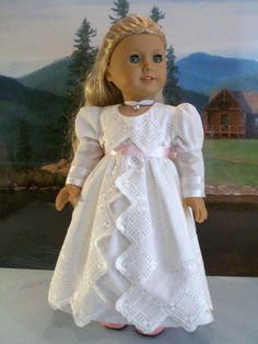 Regency White with Interchangable Sashes Fits American Girl Caroline Other 18 In   eBay. SOld for $44.00 on 2/18/14.